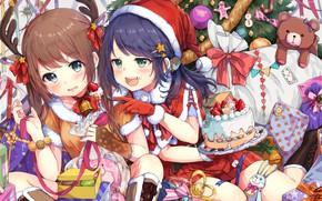 Обои сладости, новый год, аниме, девочки