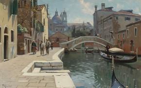 Картинка датский живописец, 1928, Петер Мёрк Мёнстед, Peder Mørk Mønsted, Danish realist painter, Канал в Венеции, …