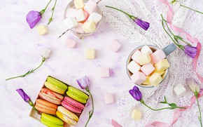 Картинка цветы, colorful, десерт, pink, flowers, пирожные, сладкое, sweet, dessert, macaroon, french, macaron, макаруны, marshmallow, зефирки