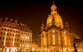 Обои Фрауэнкирхе, церковь, Дрезден, Германия, огни