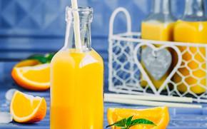 Картинка бутылка, напиток, апельсиновый сок, кубики льда