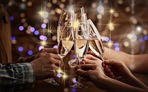 Обои шампанское, бокалы, руки, боке
