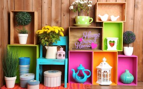 Обои кувшин, decoration, colorful, colors, полки, lantern, design, home, interior, цветы, flowers, ваза