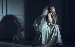 Картинка поза, настроение, модель, азиатка, невеста, фата