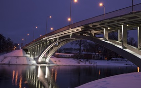 Картинка river, bridge, winter, snow, evening, lanterns, Kiev, Dnieper
