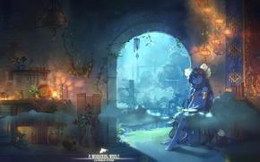 Картинка ковер, сон, вечер, кухня, девочка, сидит, светильники, босая, колокольчики ветра