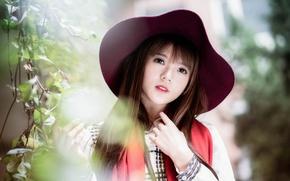 Картинка взгляд, девушка, шляпа, азиатка