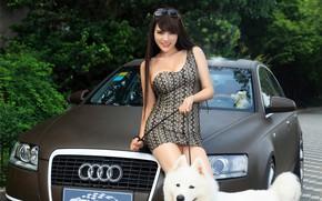 Картинка авто, взгляд, улыбка, Audi, Девушки, красивая девушка, собака на поводке