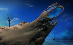 Картинка море, небо, трава, облака, дерево, корабль, тень, сооружение, звёзды, preview