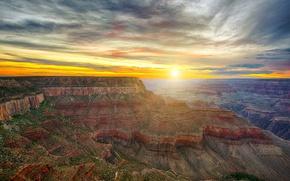 Картинка United States, Sunset, rocks, The Grand Canyon