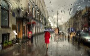Картинка девушка, капли, макро, дождь, зонт, Питер, Санкт-Петербург
