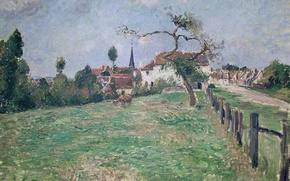 Картинка пейзаж, картина, Камиль Писсарро, Деревня Эраньи