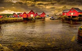 Обои Норвегия, облака, дом, поселок, море
