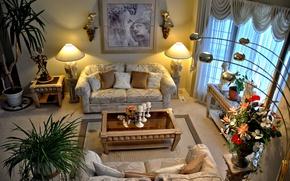 Обои цветы, диван, лампа, растения, картина, столик, гостиная