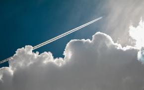 Обои самолёт, след, облако
