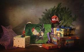 Картинка праздник, игрушки, елка, картина, подарки, коробки, 2017, год петуха