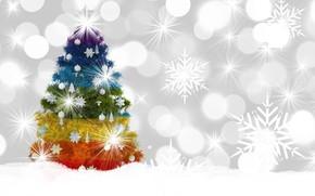 Картинка зима, украшения, снежинки, елка, Новый год, цветная, боке