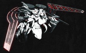 Картинка пустота, глубина, пушки, мощь, рога, красные глаза, art, Miwa Shirow, Kantai Collection, Seaport Hime, супер-оружие, …