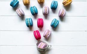 Картинка colorful, чашка, cup, spring, macaroon, macaron, макаруны