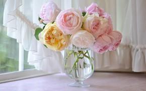 Картинка розы, букет, окно, ваза