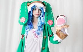 Картинка game, green eyes, woman, anime, cosplay, Date A Live, blue hair, grl