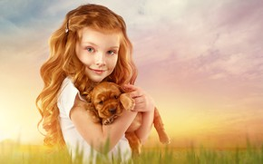 Картинка фон, волосы, ребенок, девочка, щенок, рыжая