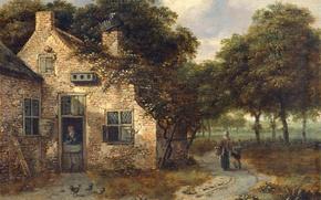 Картинка Ян Вейнантс, пейзаж, Крестьянский Дом, масло, картина, дерево