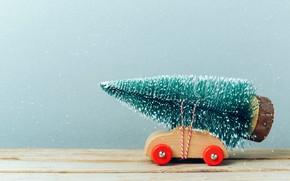 Обои игрушка, елка, Машинка, елочка, снег