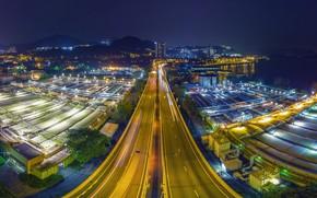 Обои город, Китай, Гонконг, дорога, огни