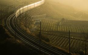 Картинка туман, утро, железная дорога