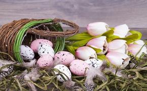 Картинка цветы, Пасха, тюльпаны, корзинка, pink, flowers, tulips, spring, Easter, eggs, decoration, Happy, яйца крашеные