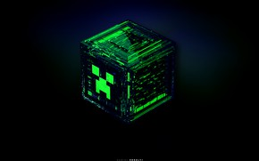 Обои взрыв, синий, зеленый, серый, черный, игра, куб, game, minecraft, изумрудный, майнкрафт, крипер, изломы