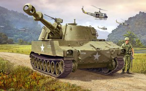 Обои САУ, самоходная гаубица, M109, американская самоходная артиллерийская установка, 155mm Self-Propelled Howitzer