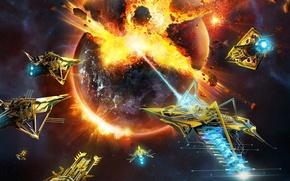 Картинка space, explosion, fire, flame, game, war, Microsoft Windows, spaceship, planet, battle, galaxy, ship, RPG, spark, …