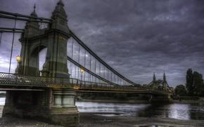 Картинка вода, тучи, мост