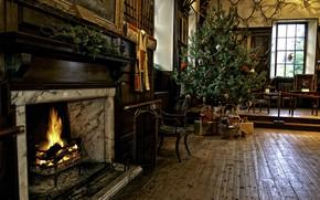 Картинка тепло, комната, праздник, елка, Рождество, Новый год, камин, уютно