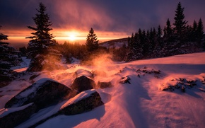 Картинка снег, камни, ветер, рассвет, Болгария, Восход солнца