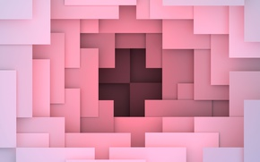 Обои colorful, abstract, design, pink, background, geometry, geometric shapes, 3D rendering