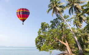 Обои beautiful, небо, seascape, air balloon, sand, sea, пляж, лето, воздушный шар, tropical, summer, волны, море, ...