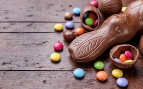 Картинка шоколад, яйца, colorful, кролик, конфеты, Пасха, wood, chocolate, spring, Easter, eggs, bunny, candy, decoration, Happy