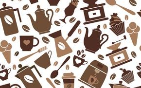 Обои coffee, seamless pattern, кофе, background, vector, фон, текстура