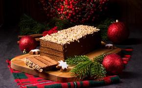 Картинка свет, шары, новый год, шоколад, торт, орехи, Christmas, выпечка, cakes