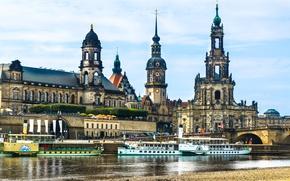 Картинка Эльба, Дрезден, теплоход, река, Германия, Dresden, Elbe