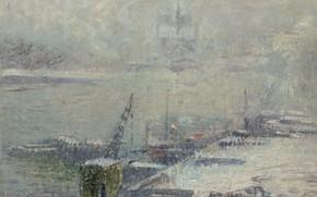 Картинка картина, дымка, Собор Парижской Богоматери, городской пейзаж, Гюстав Луазо, Gustave Loiseau, Вид с Набережной Генриха …