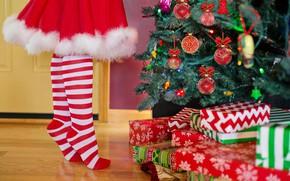 Картинка украшения, ноги, чулки, Рождество, девочка, подарки, Новый год, ёлка