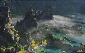 Картинка горы, скалы, растительность, водоём, Stone Watchers