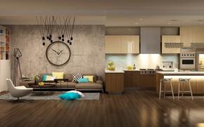 Обои дизайн, кухня, камин, кресло, kitchen, гостиная, clock, Sofa, design, модерн, часы, interior, мебель, интерьер, диван