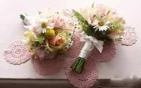 Картинка цветы, розы, букет, салфетка