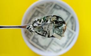 Картинка деньги, завтрак, ложка, доллары, порванные, боке
