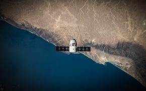 Картинка поверхность, Земля, Dragon, вид сверху, космический корабль, транспортный, SpaceX, частный, aerial view, Dragon SpaceX, со …